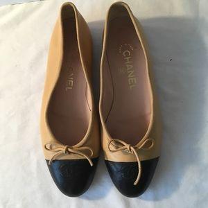 CHANEL Tan & Black Toe Lambskin Shoes